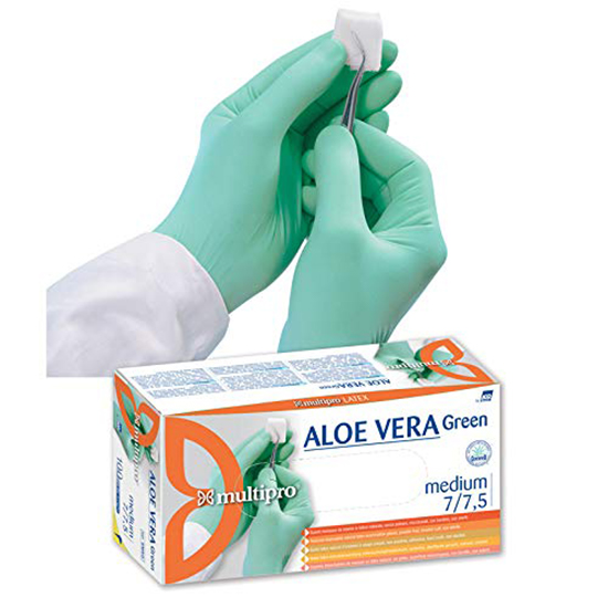 guanti lattice monouso senza polvere multipro aloe vera green